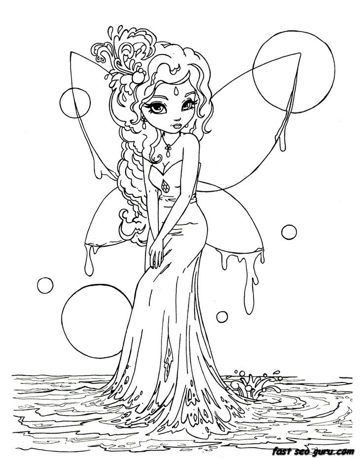 Best ideas about Coloring Pages For Girls Fairies . Save or Pin Printable beautiful Fairy on Water coloring in pages Now.