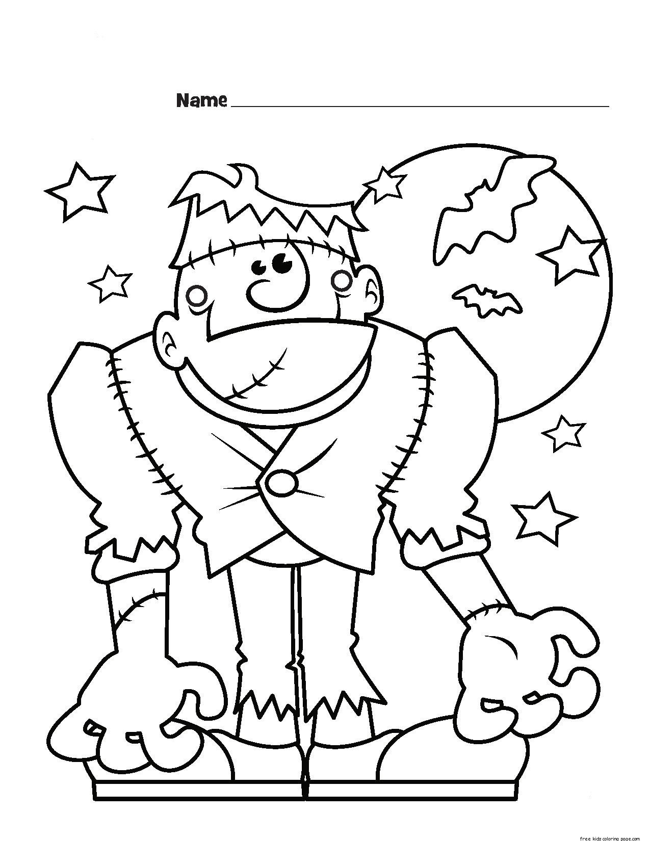 Best ideas about Coloring Pages For Girls Monster High Printable Frankin Stein . Save or Pin frankenstein monster halloween coloring page for kidsFree Now.