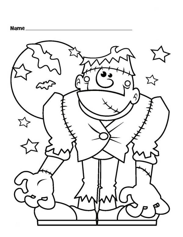 Best ideas about Coloring Pages For Girls Monster High Printable Frankin Stein . Save or Pin Halloween Monster Frankenstein and Bats Coloring Page Now.