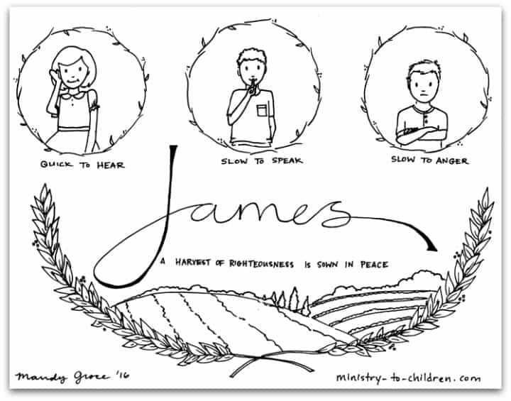 "Best ideas about Coloring Pages For Kids For The Book Of James From The Bible . Save or Pin ""James"" Bible Book Coloring Page Now."
