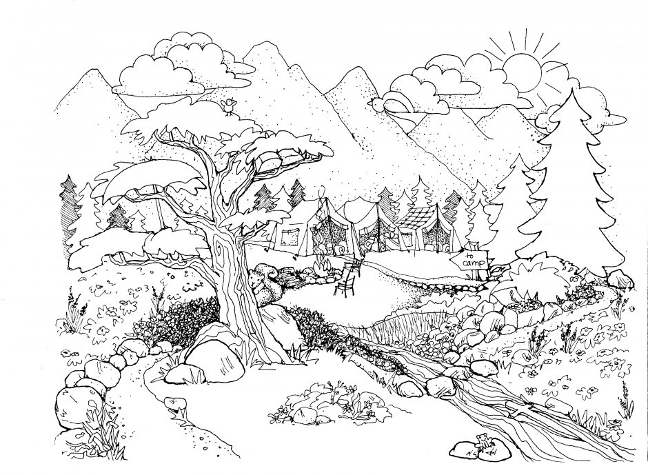 Best ideas about Coloring Pages For Kids Nature . Save or Pin Drawn nature colouring page Pencil and in color drawn Now.