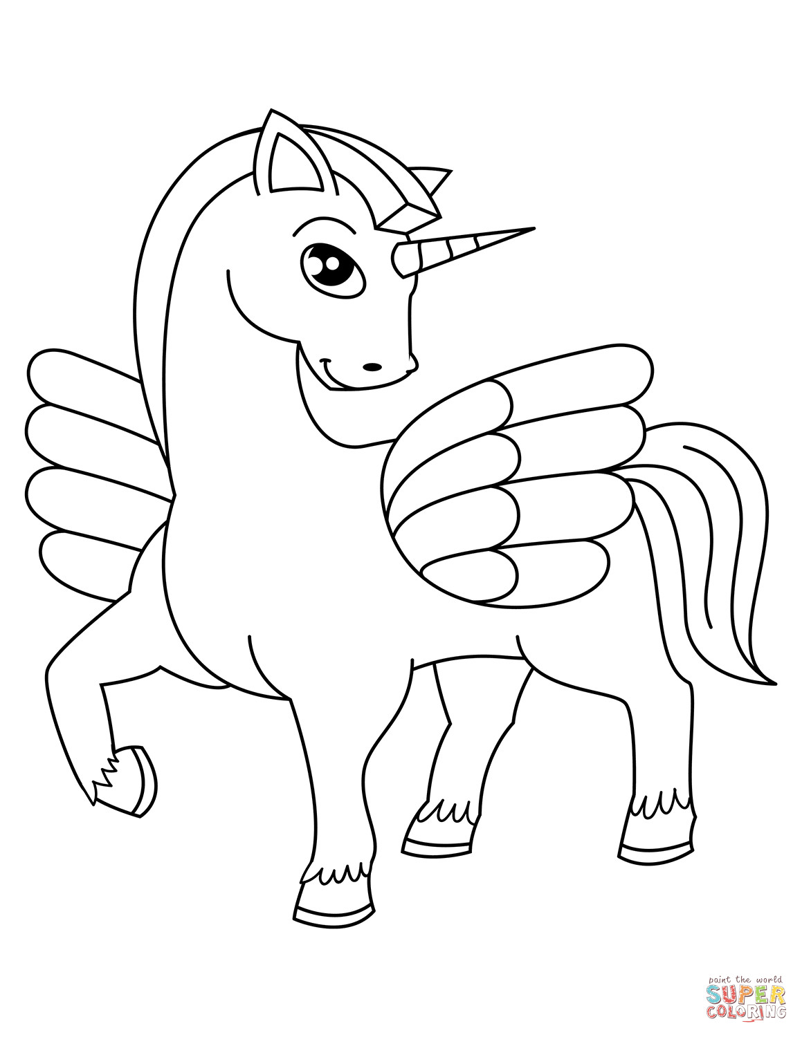 Best ideas about Coloring Pages For Kids To Print Unicorn . Save or Pin Cute Winged Unicorn coloring page Now.