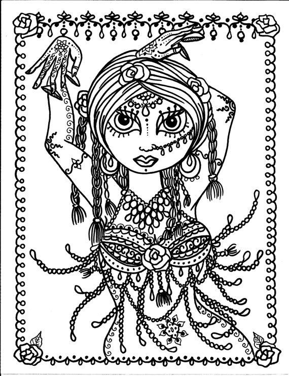 Best ideas about Coloring Pages For Teens Jingel Dress Dancer . Save or Pin 5 pages Belly Dancer coloring pages Digital files Instant Now.
