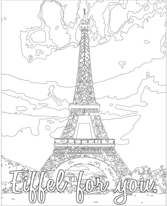 Best ideas about Coloring Pages For Teens Paris . Save or Pin Adult Coloring page Color Therapy Digital Download Eiffel Now.