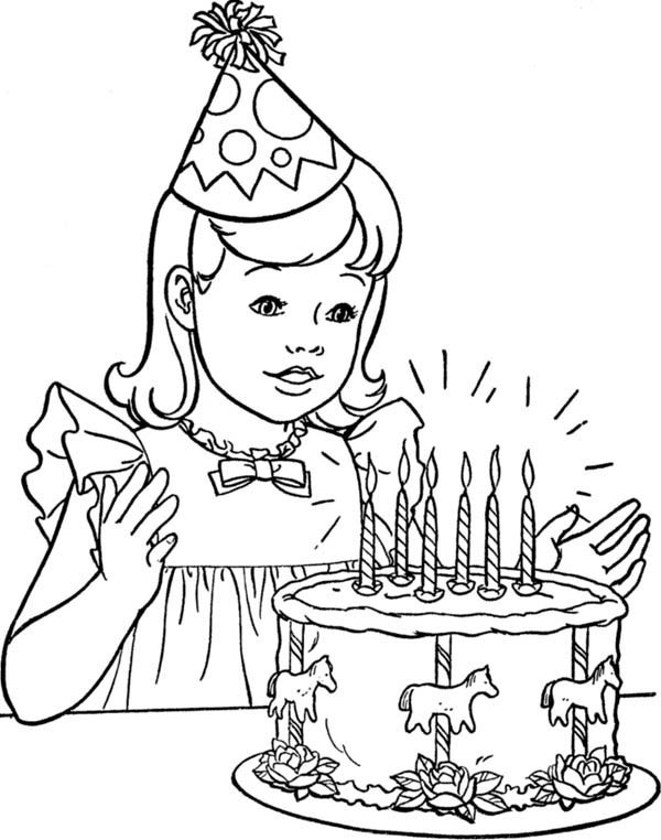 Best ideas about Coloring Sheets For Girls The Birthday . Save or Pin A Little Girl with Happy Birthday Cake Coloring Page Now.