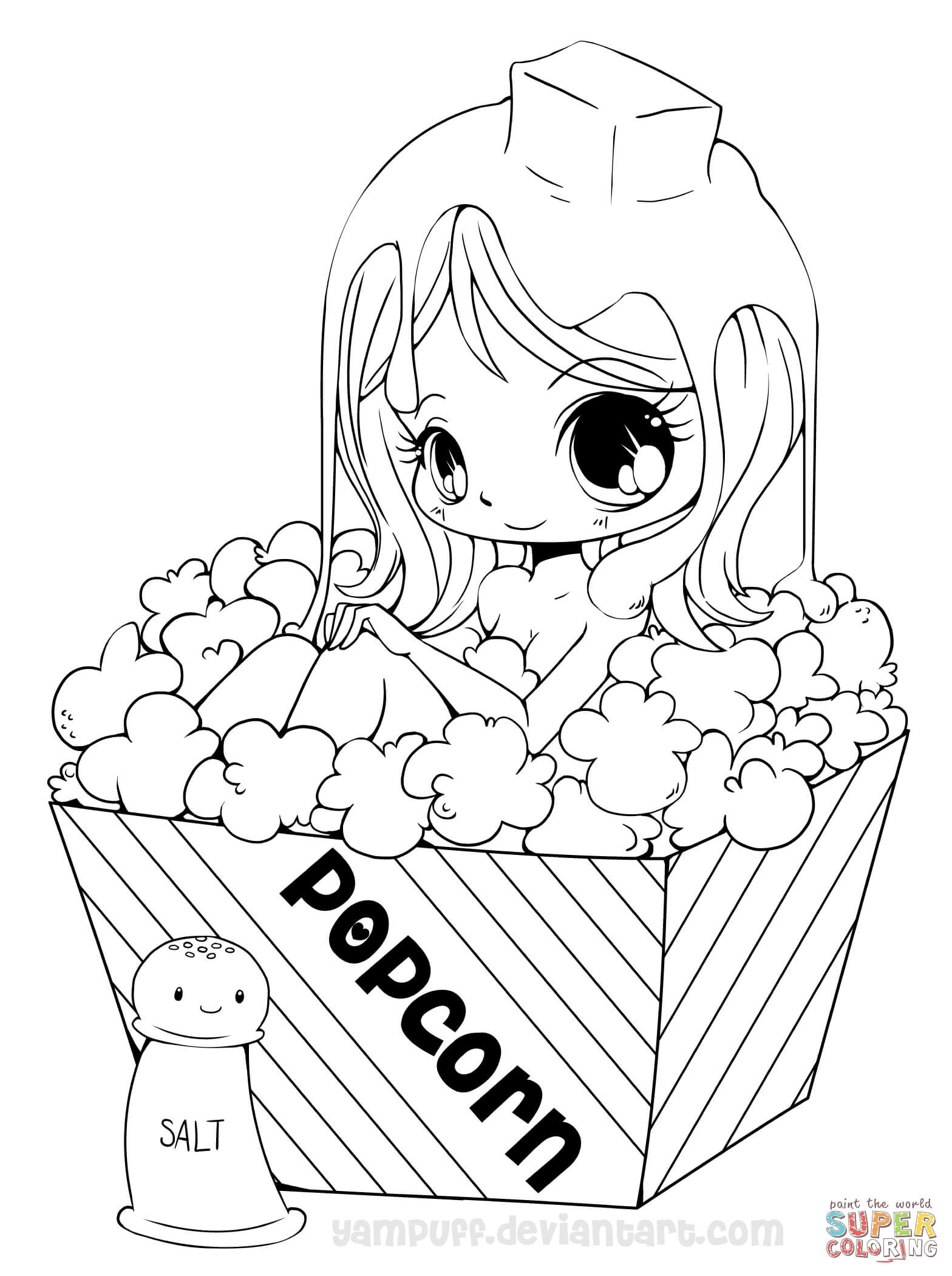 Best ideas about Coloring Sheets For Girls. To Print . Save or Pin Chibi Popcorn Girl coloring page Now.