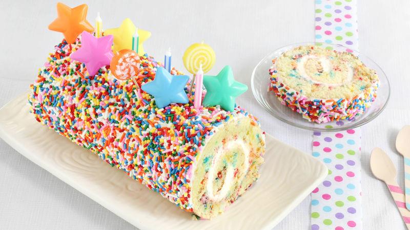 Best ideas about Confetti Birthday Cake . Save or Pin Confetti Cake Roll Recipe BettyCrocker Now.