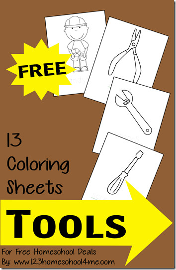 Best ideas about Construction And Tool Box Preschool Coloring Sheets . Save or Pin Free Coloring Sheets Tools Themed instant Now.