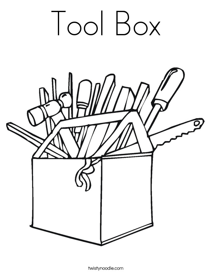 Best ideas about Construction And Tool Box Preschool Coloring Sheets . Save or Pin Tool Box Coloring Page Twisty Noodle Now.