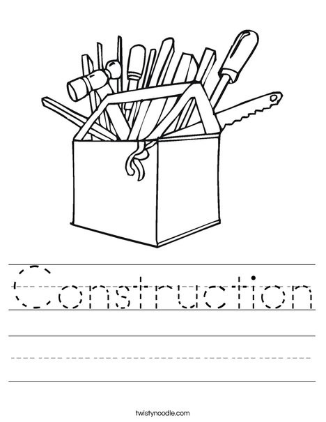 Best ideas about Construction And Tool Box Preschool Coloring Sheets . Save or Pin Construction Worksheet Twisty Noodle Now.