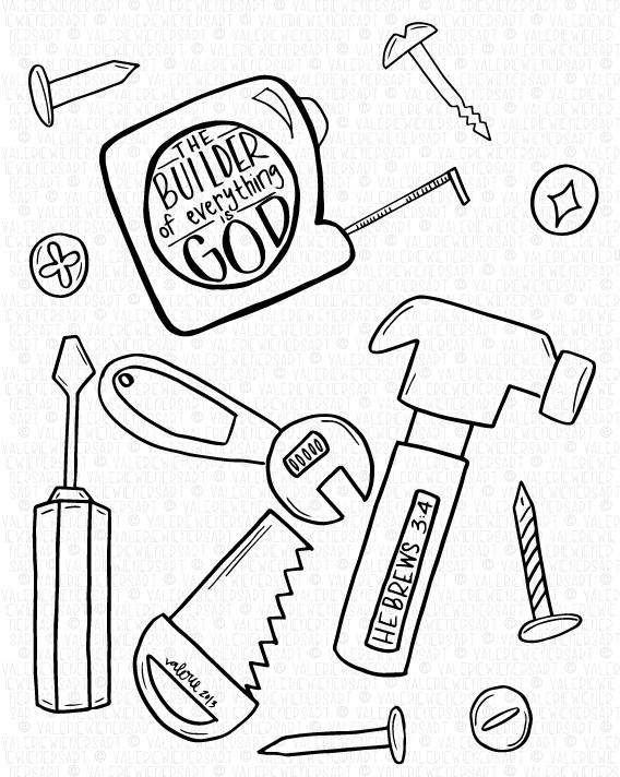Best ideas about Construction And Tool Box Preschool Coloring Sheets . Save or Pin Coloring page Creation God is the builder of everything Now.