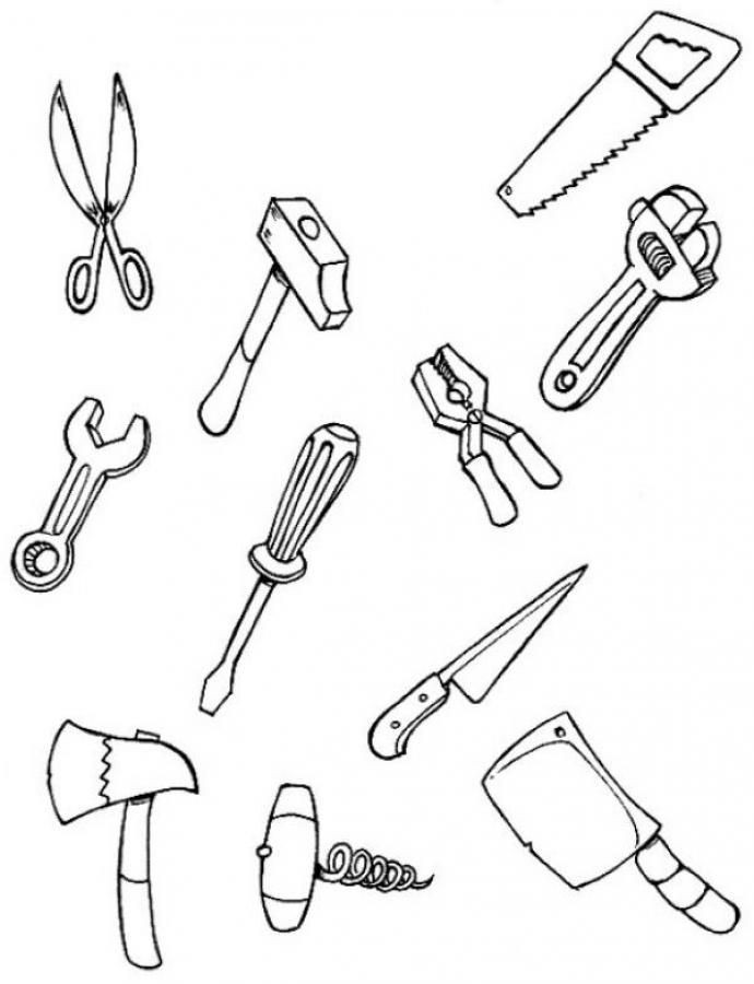 Best ideas about Construction And Tool Box Preschool Coloring Sheets . Save or Pin tool coloring pages for kids Now.