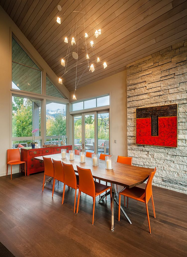Best ideas about Contemporary Dining Room . Save or Pin 25 Trendy Dining Rooms with Spunky Orange Now.