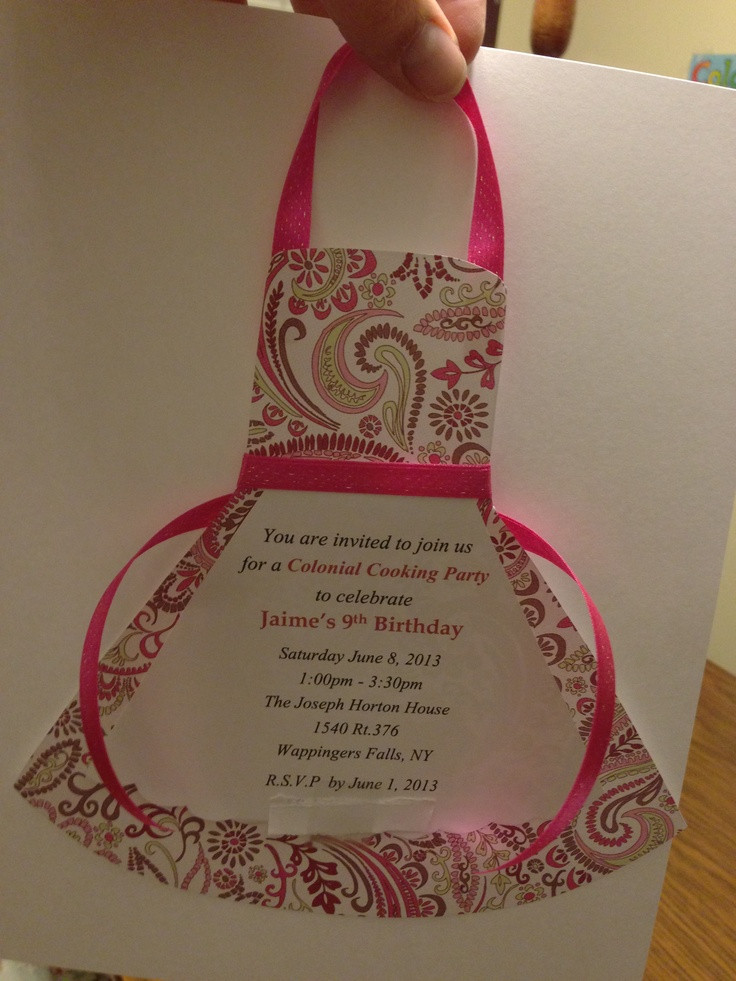 Best ideas about Cooking Birthday Party . Save or Pin Cooking party apron invitation Party Ideas Now.