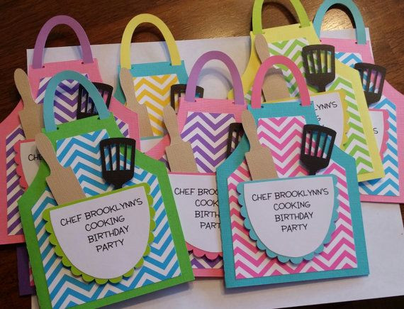 Best ideas about Cooking Birthday Party . Save or Pin These cute apron shaped invitations are a great way to Now.