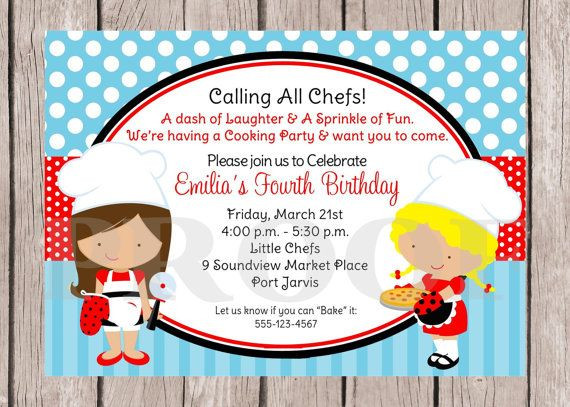 Best ideas about Cooking Birthday Party . Save or Pin PRINTABLE Little Chef Birthday Party Invitation Pizza Now.