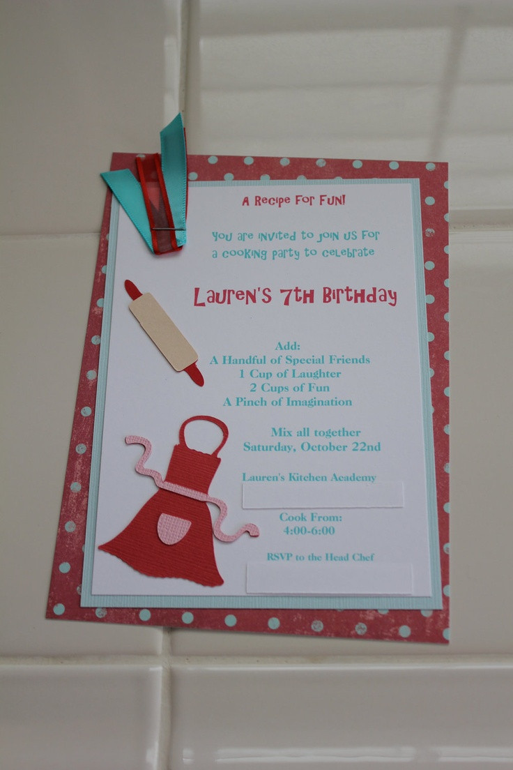 Best ideas about Cooking Birthday Party . Save or Pin Cooking Party Invitation Birthdays Now.