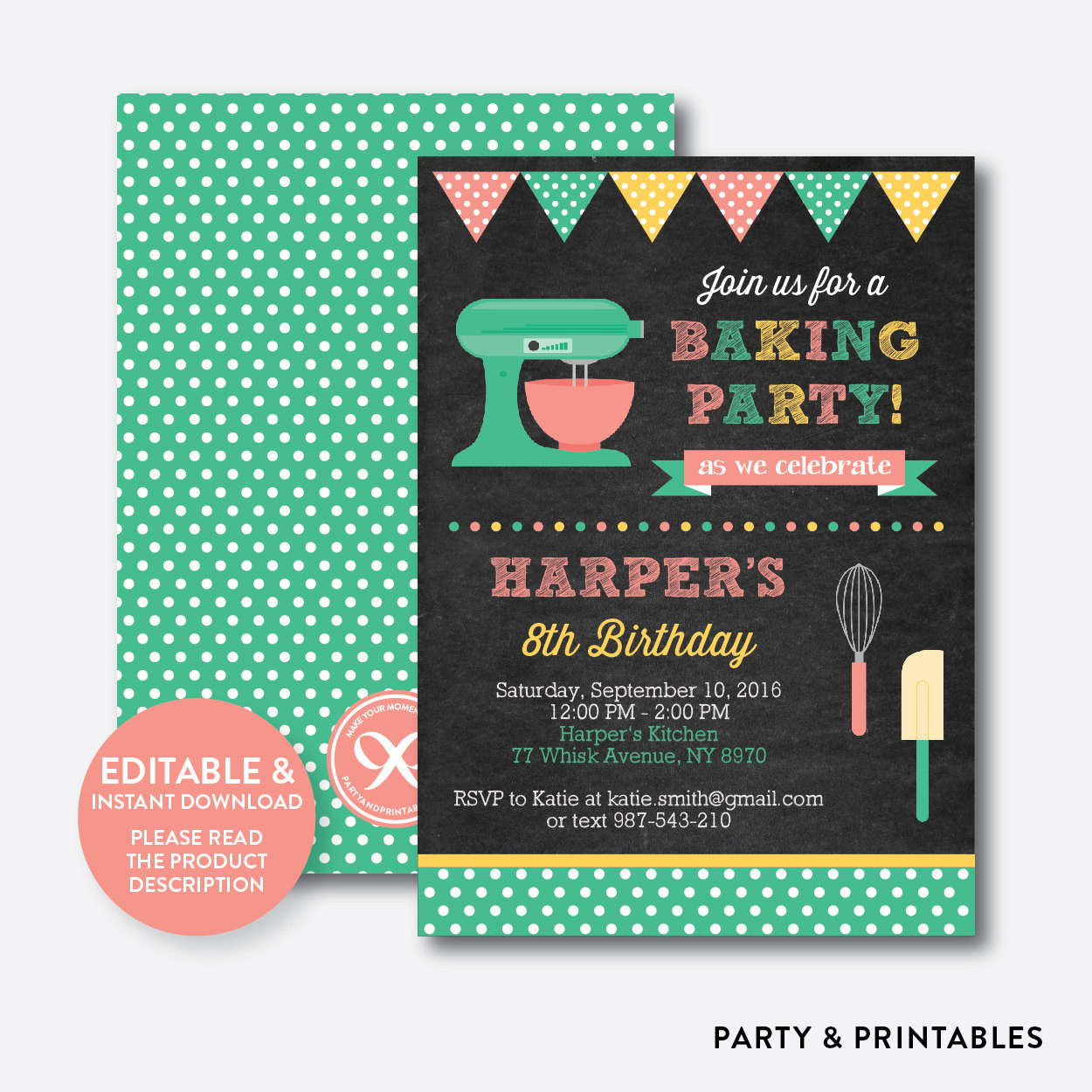 Best ideas about Cooking Birthday Party . Save or Pin Instant Download Editable Baking Birthday Invitation Baking Now.