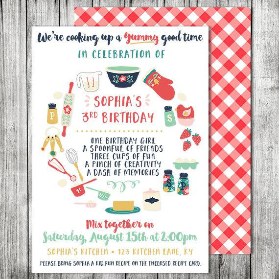Best ideas about Cooking Birthday Party . Save or Pin Kids Cooking Birthday Party Invitation Cooking Baking Now.