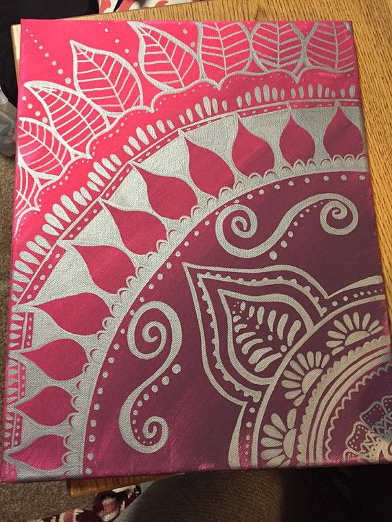 Best ideas about Cool Patterns To Paint . Save or Pin 12x16 Painted Henna Canvas by DohseDaisy on Etsy Now.