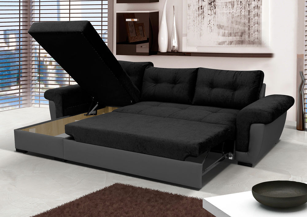 Best ideas about Corner Sofa Bed . Save or Pin NEW Corner Sofa Bed with Storage Black Fabric Grey Now.
