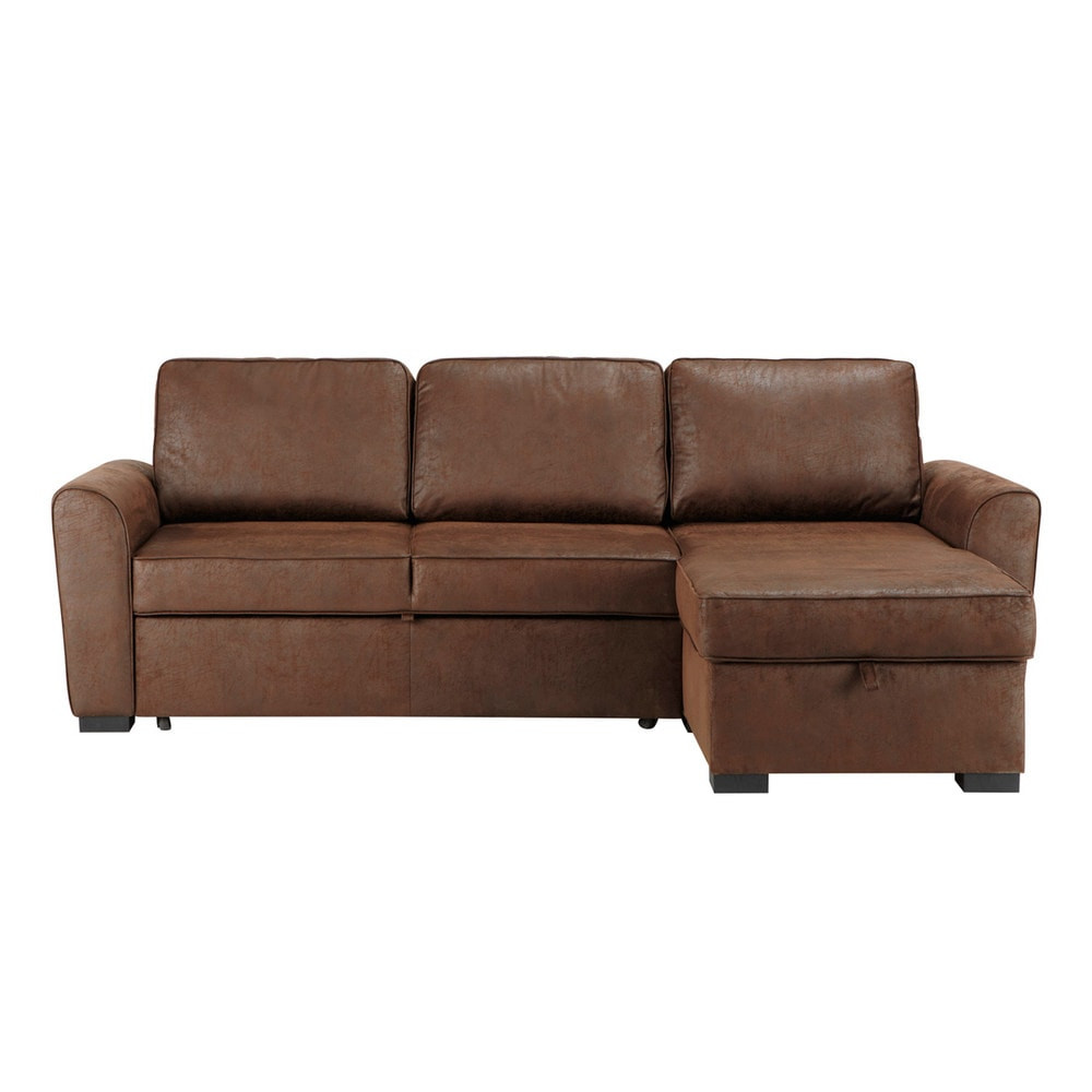 Best ideas about Corner Sofa Bed . Save or Pin 3 4 Seater Brown Microsuede Corner Sofa Bed Montréal Now.