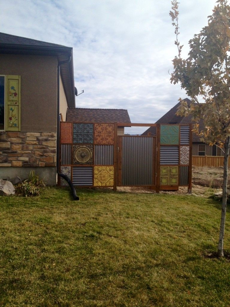 Best ideas about Corrugated Metal Fence DIY . Save or Pin DIY tin ceiling tile and corrugated metal fence Now.