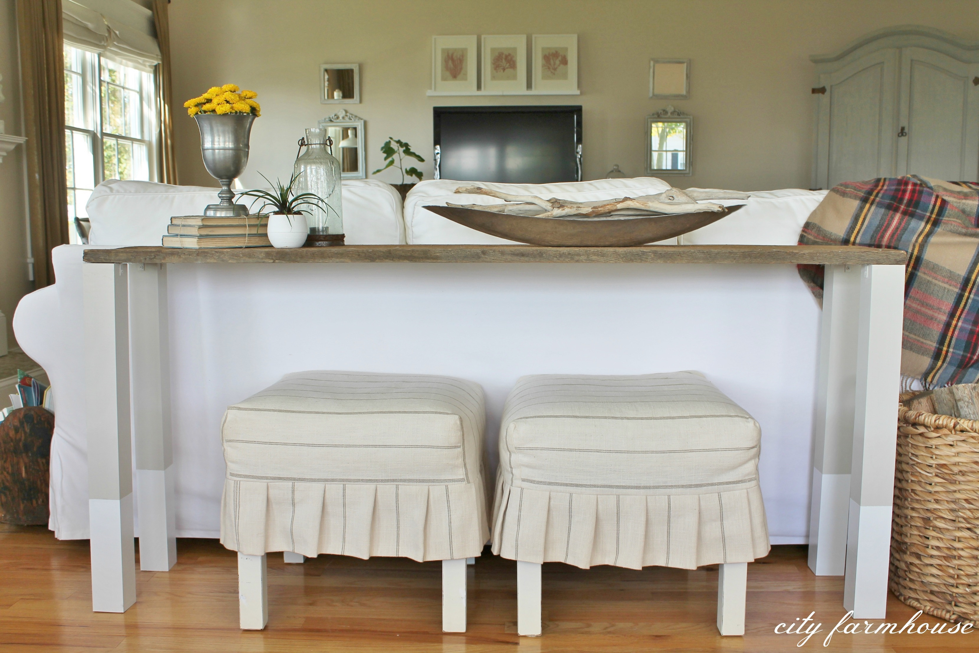 Best ideas about Couch Table DIY . Save or Pin The Easiest DIY Reclaimed Wood Sofa Table City Farmhouse Now.