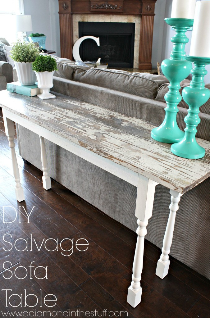 Best ideas about Couch Table DIY . Save or Pin DIY Salvage Sofa Table A Diamond in the Stuff Now.