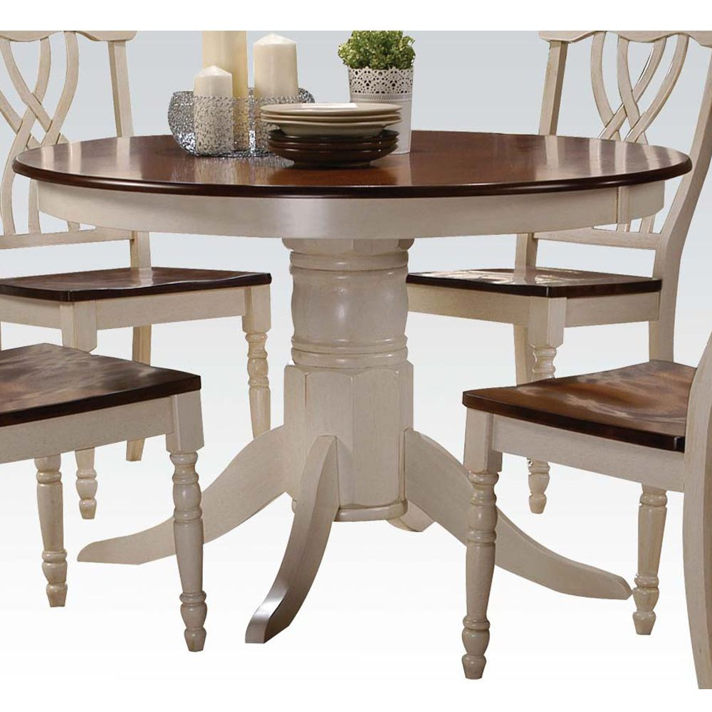 Best ideas about Country Dining Table . Save or Pin 5 PC Country Style White Cherry Wood Round Table Padded Now.