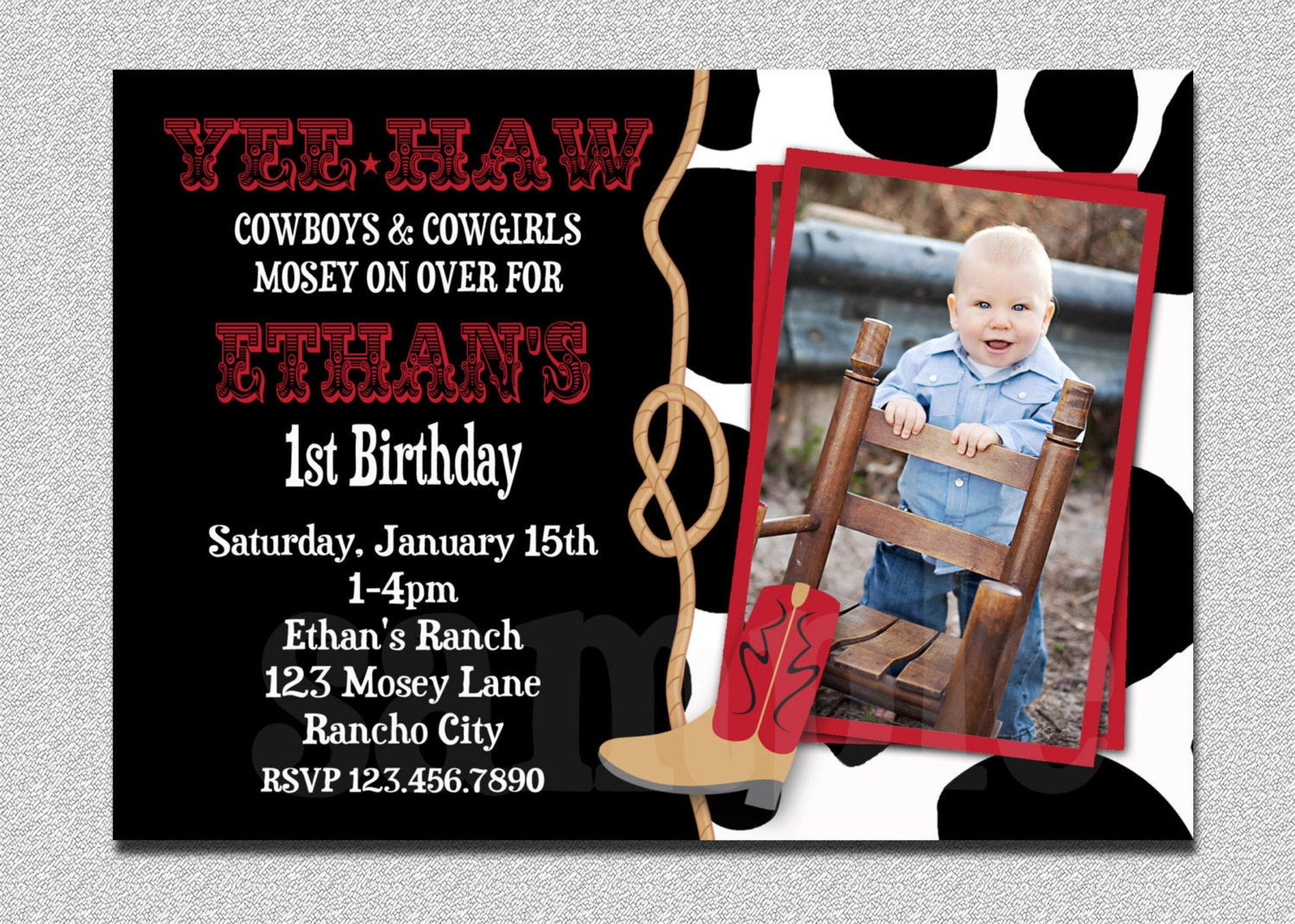 Best ideas about Cowboy Birthday Invitations . Save or Pin Cowboy Birthday Invitation Cowboy 1st Birthday Party Now.