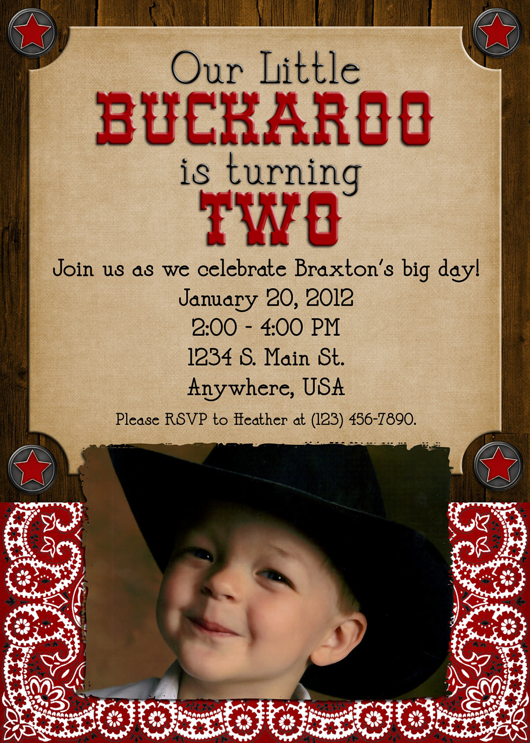 Best ideas about Cowboy Birthday Invitations . Save or Pin Cowboy Birthday Party Invitation Boy Girl Western Now.