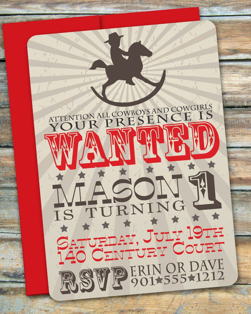 Best ideas about Cowboy Birthday Invitations . Save or Pin Cowboy First Birthday Invitation by swankypress on Etsy Now.
