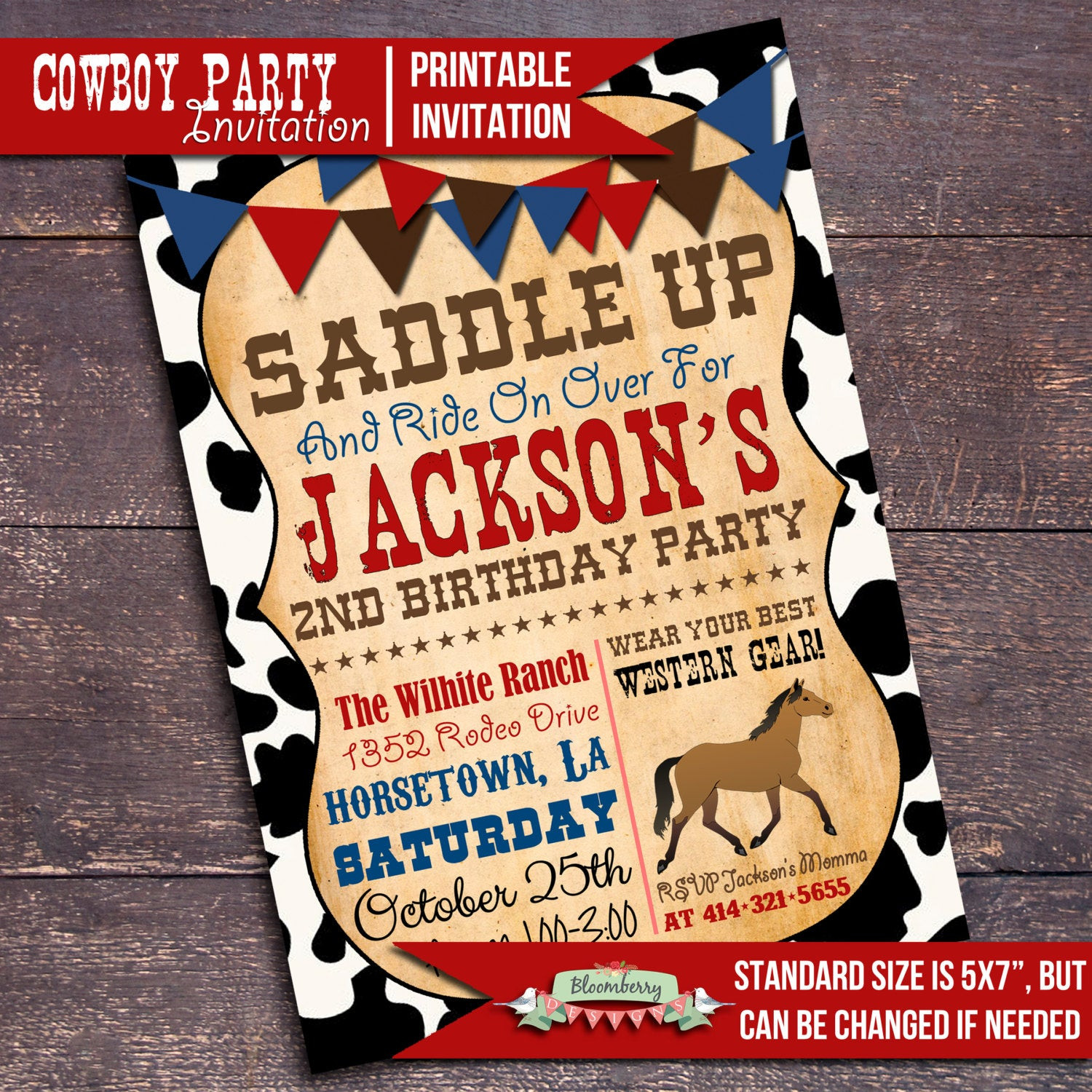 Best ideas about Cowboy Birthday Invitations . Save or Pin Printable Cowboy Party Invitation Western by BloomberryDesigns Now.