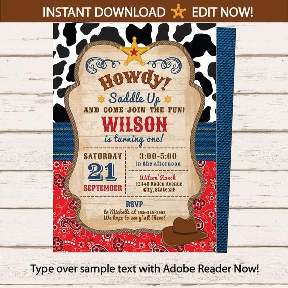 Best ideas about Cowboy Birthday Invitations . Save or Pin Cowboy Invitations Western Invitations Cowboy by ArcticParty Now.