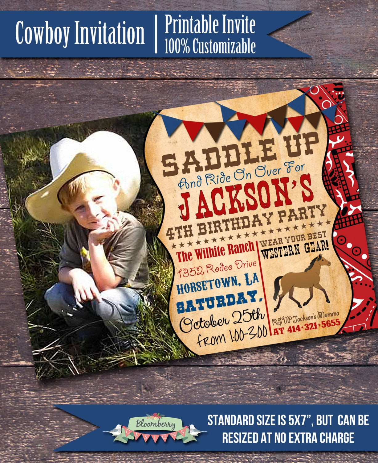 Best ideas about Cowboy Birthday Invitations . Save or Pin Western Party Invitation Cowboy Party by BloomberryDesigns Now.
