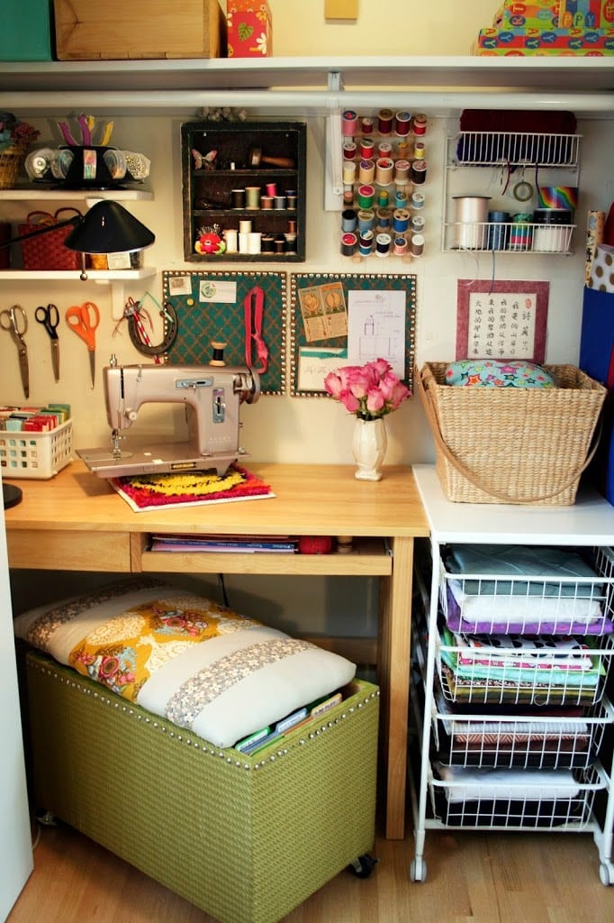 Best ideas about Craft Storage Ideas For Small Spaces . Save or Pin Cozy Craft Space Now.