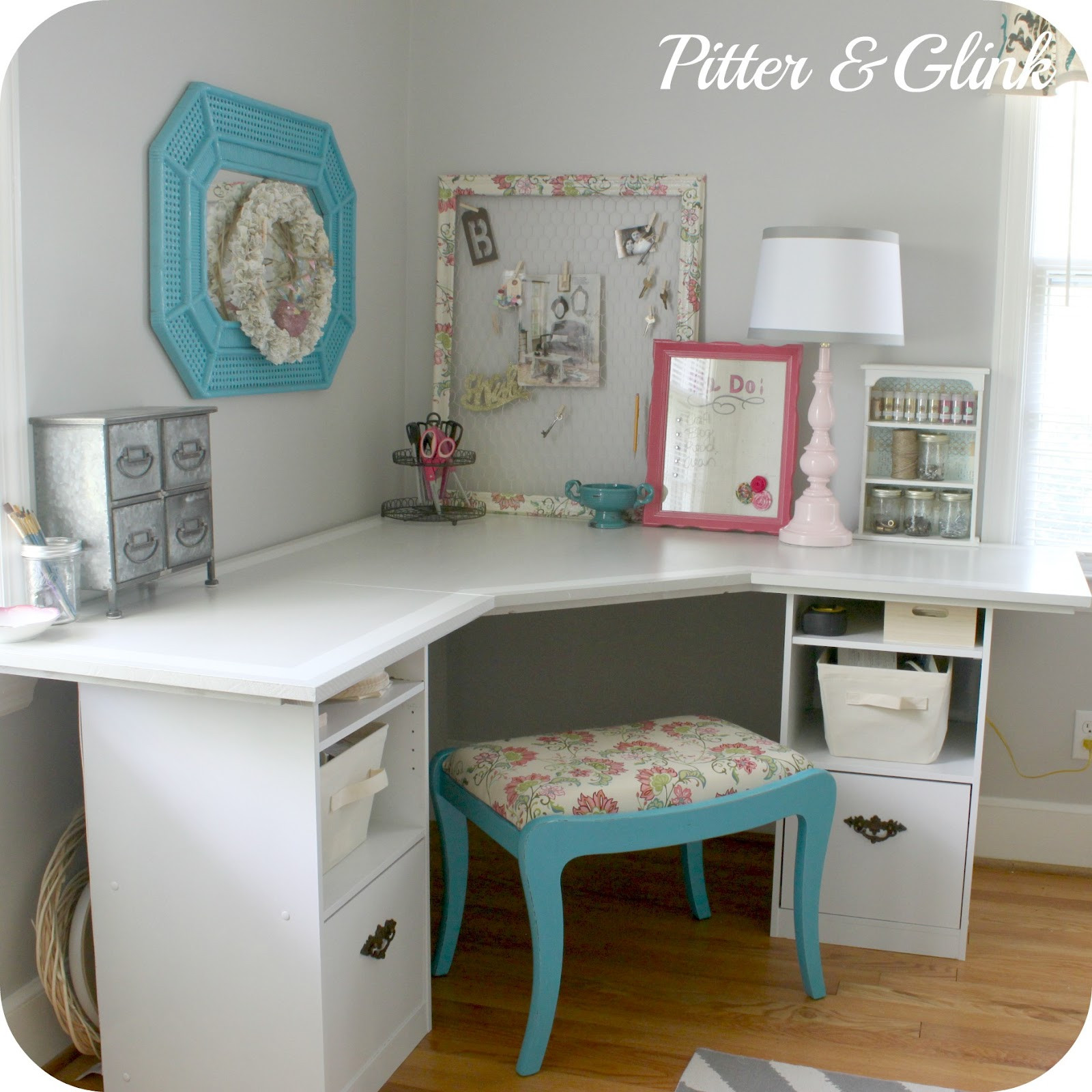 Best ideas about Craft Table Ideas . Save or Pin PitterAndGlink Craft Room Corner Desk Now.