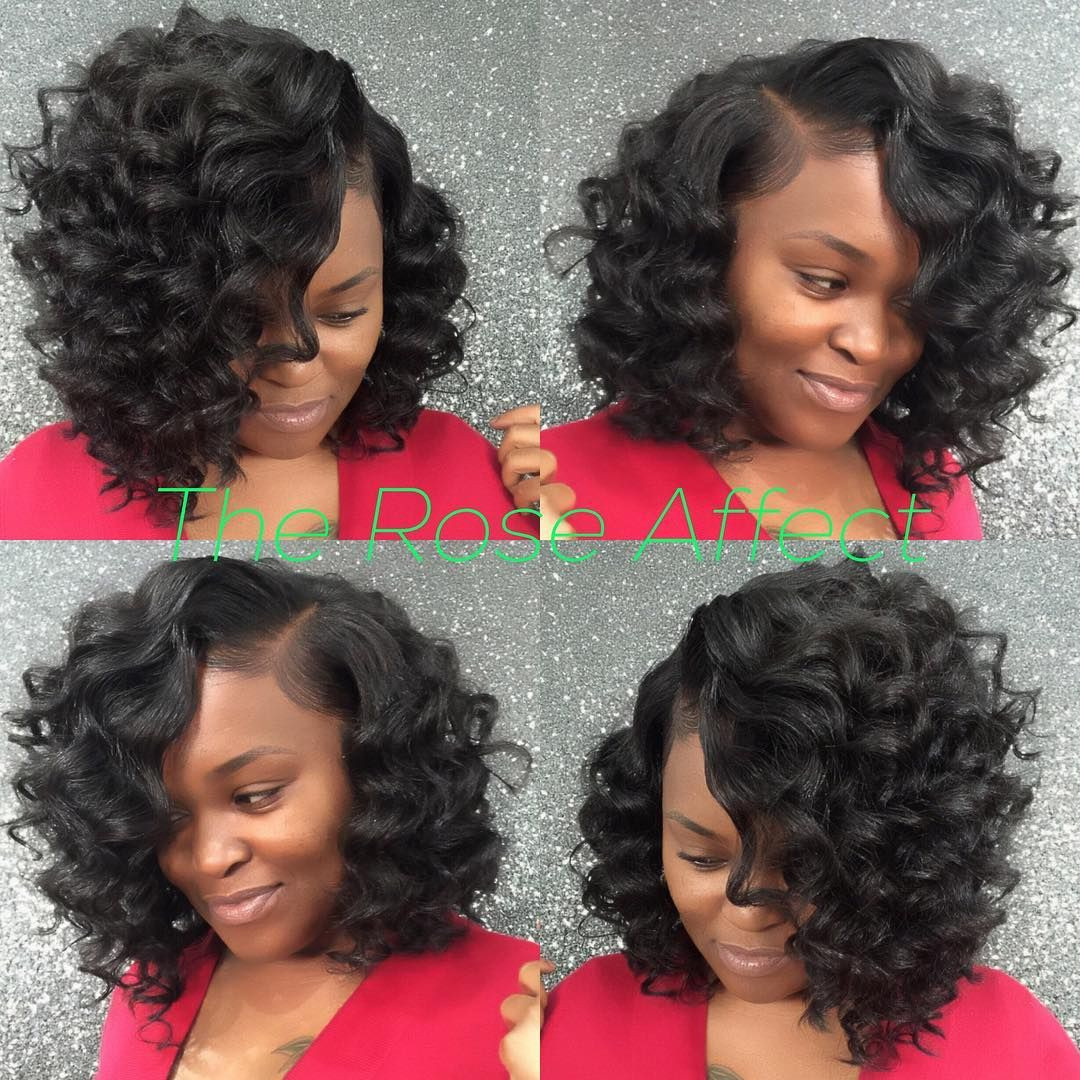 "Best ideas about Curly Bob Sew In Hairstyles . Save or Pin ""Cute curly Bob sew in This is The Rose Affect Get Now."
