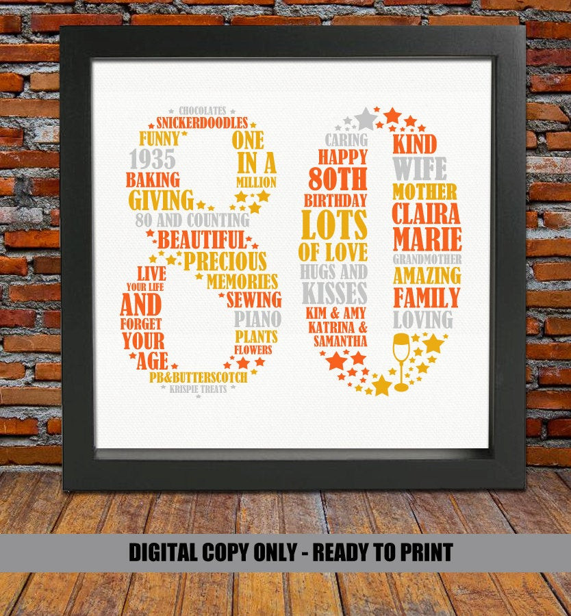 Best ideas about Custom Birthday Gifts . Save or Pin Personalized 80th Birthday Gift 80th birthday 80th birthday Now.