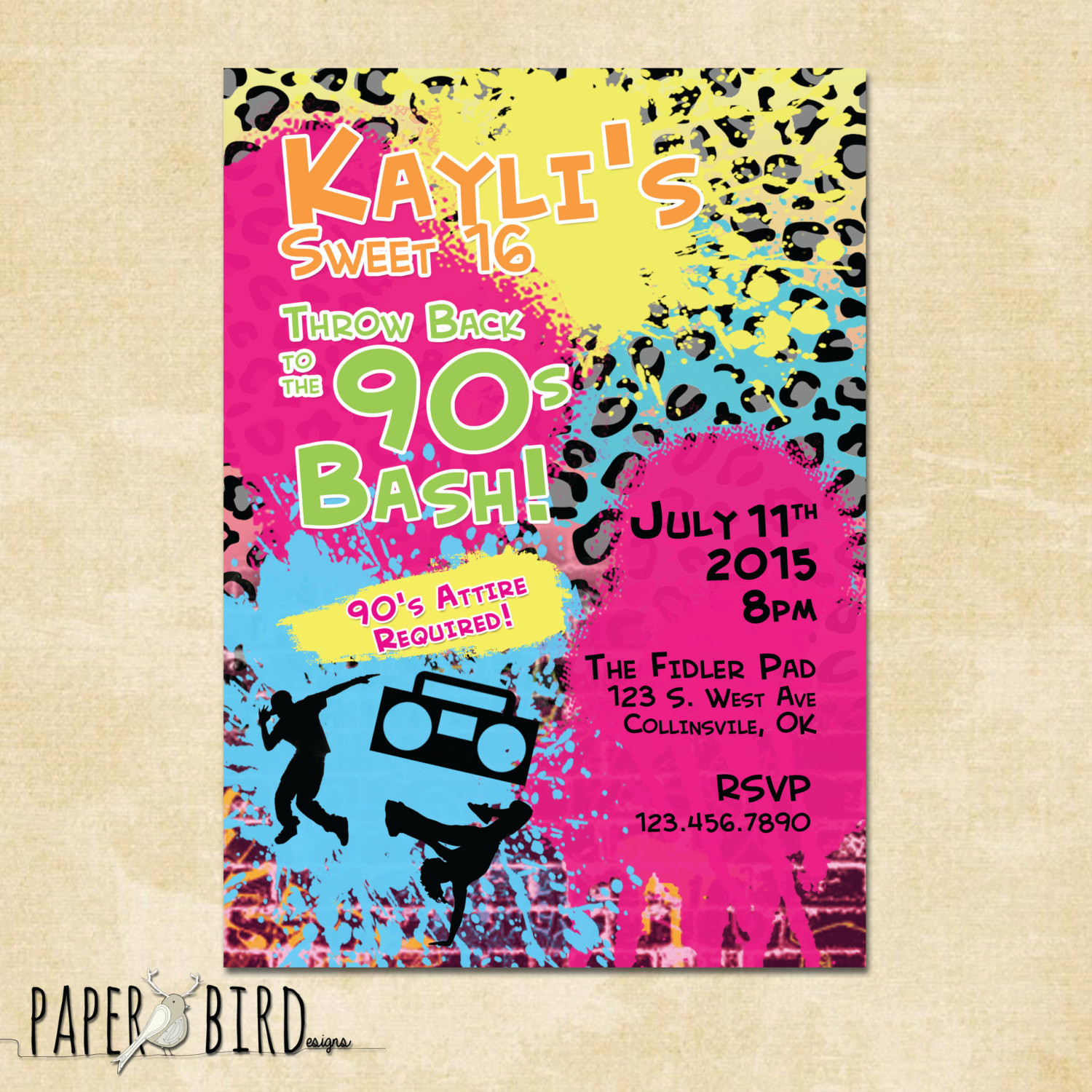 Best ideas about Custom Birthday Party Invitations . Save or Pin 90s Throwback Birthday Invitation Custom Invite Printable Now.
