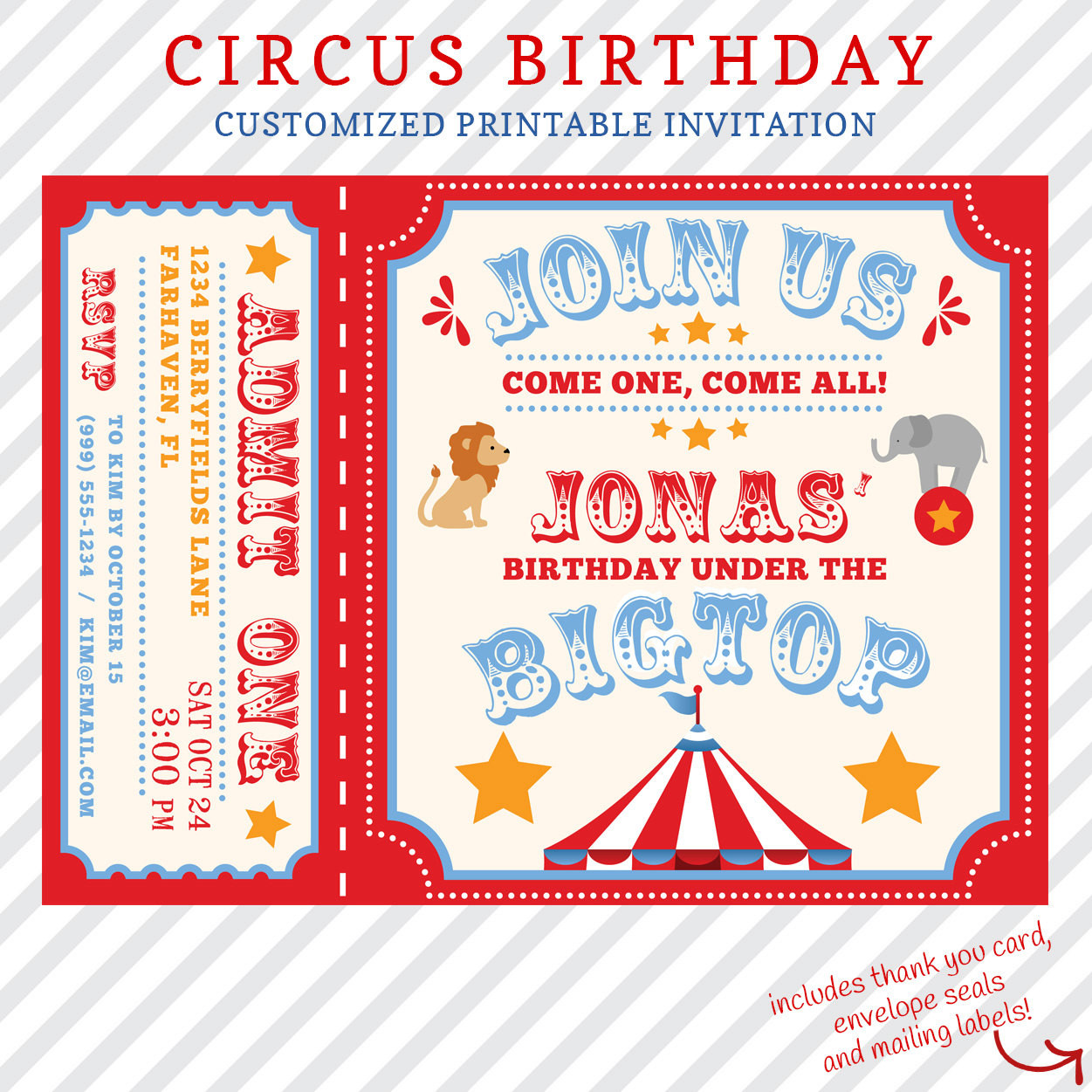 Best ideas about Custom Birthday Party Invitations . Save or Pin Circus Birthday Invitation Printable custom invitation with Now.