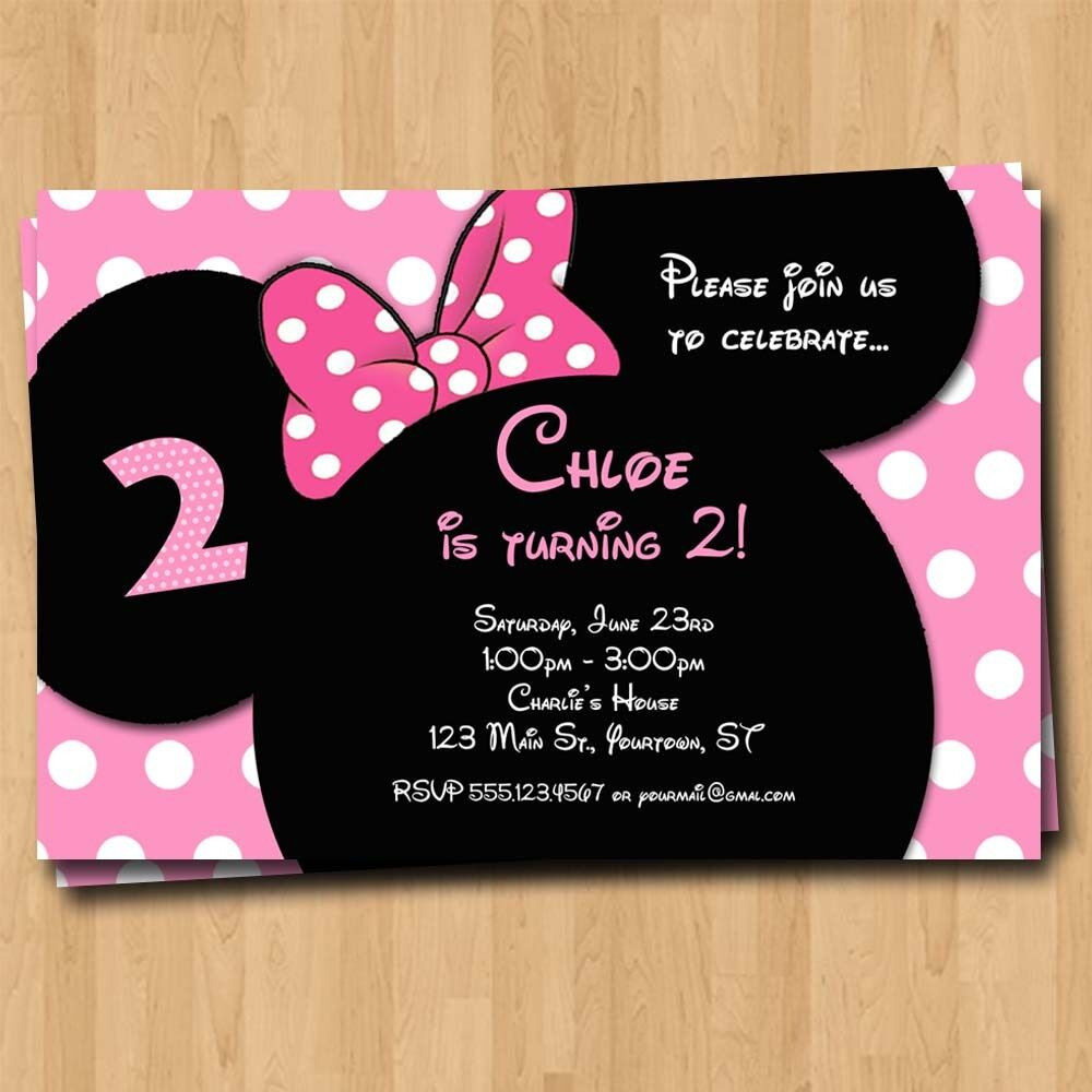 Best ideas about Custom Birthday Party Invitations . Save or Pin Minnie Mouse Birthday Invitation Party Invites Custom Now.