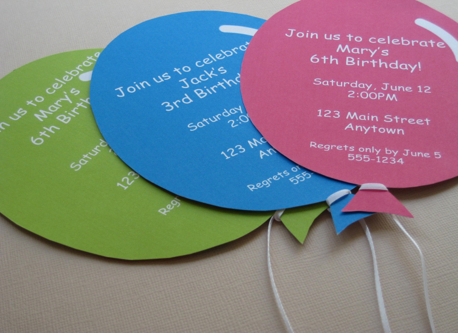 Best ideas about Custom Birthday Party Invitations . Save or Pin Personalized Balloon Party Invitations Handmade Now.