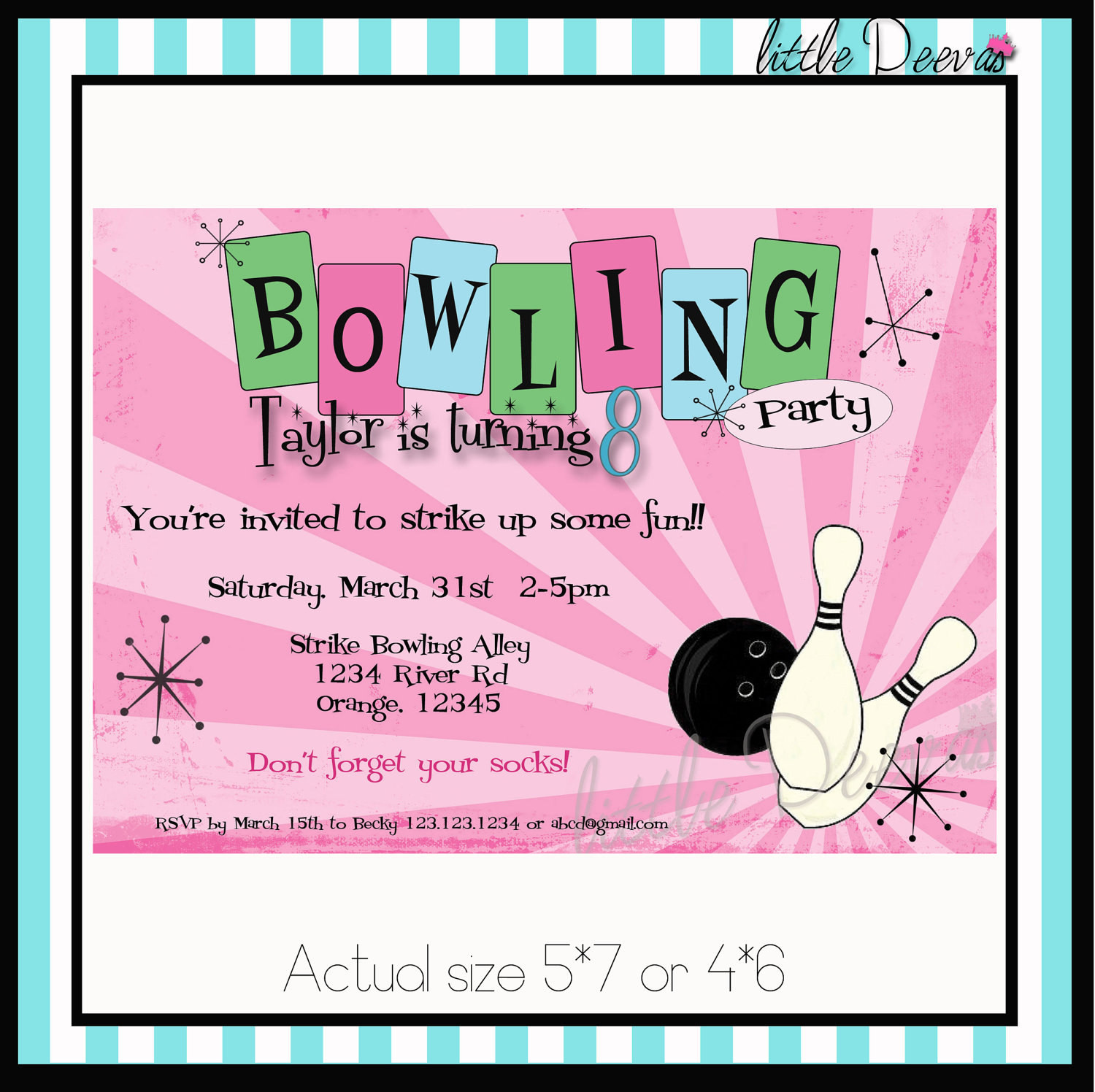 Best ideas about Custom Birthday Party Invitations . Save or Pin Bowling Birthday Invitation Custom wording and by LittleDeevas Now.