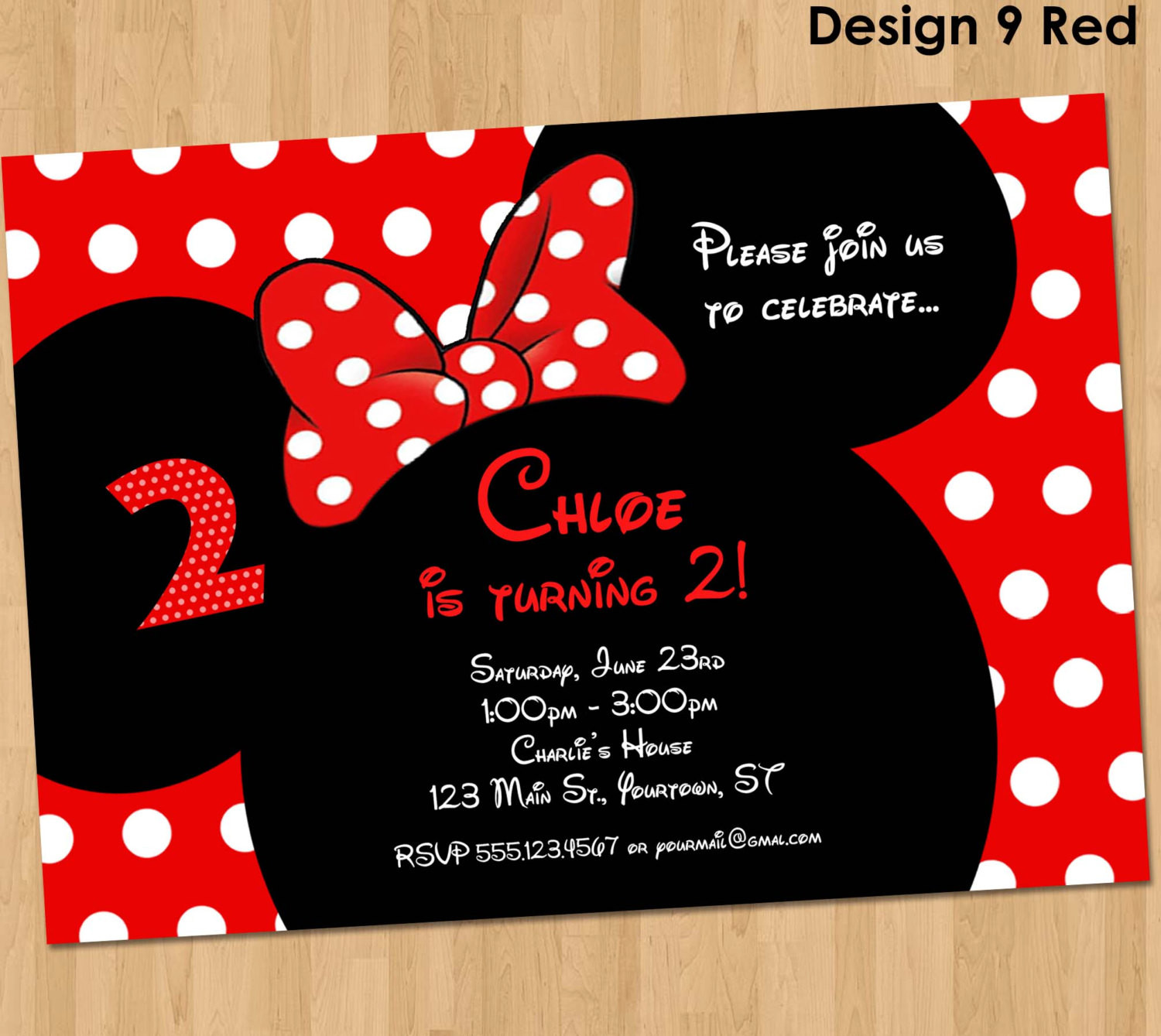 Best ideas about Custom Birthday Party Invitations . Save or Pin Minnie Mouse Invitation Printable Birthday Party Custom Now.