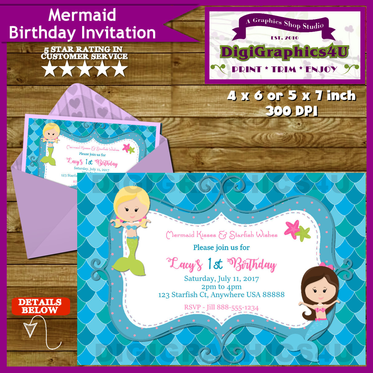 Best ideas about Custom Birthday Party Invitations . Save or Pin Little Girls Mermaid Birthday Party Invitation Personalized Now.