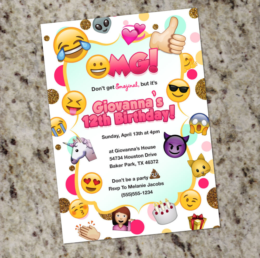 Best ideas about Custom Birthday Party Invitations . Save or Pin Emoji Birthday Invitation Emoji Themed Party Invitation Now.
