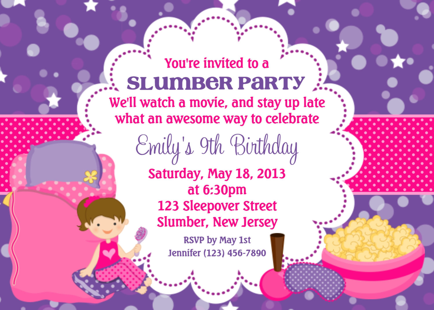 Best ideas about Custom Birthday Party Invitations . Save or Pin Slumber Party Invitation Personalized Custom Sleepover Now.