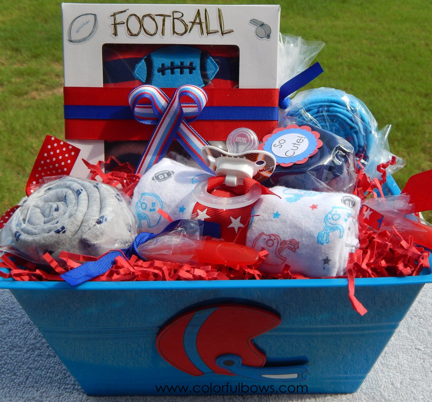 Best ideas about Cute Baby Boy Gift Ideas . Save or Pin Football Baby Shower Deluxe Baby Boy Gift Basket READY TO Now.